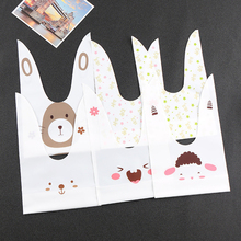 10pcs/lot Kawaii Plastic Rabbit Long Ears Wedding Gift Bag Easter Bunny Candy Cookie Snack Birthday Xmas Party Favors Decoration hot selling fashion gift packaging bag easter bunny jewelry bucket unique design burlap easter tote with bunny ears baskets