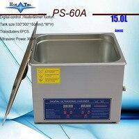 Mais novo 110 v/220 v jietai PS-60A 40 khz líquido de limpeza ultrassônico 15l com cesta livre
