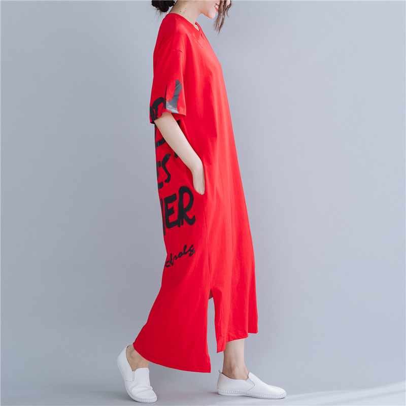2019 Summer New Style Korean-style Half Sleeve Long Large Size Lettered Floral Printed Dress