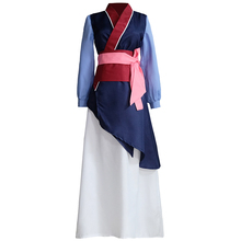 Filme mulan cosplay trajes vermelho azul drama vestidos de princesa saia hua mulan para meninas halloween festa palco roupas