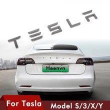 Auto 3D Metall Aufkleber Für Tesla Logo Brief Modell 3 X Schwanz Label Für Tesla Model S Drei Y Auto hinten Stamm Emblem Abzeichen Dekoration