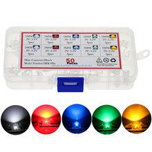 50 adet/kutu 5mm LED Piranha ışık yayan diyot lamba çeşitliliği DIY kiti beyaz kırmızı yeşil mavi sarı parlak renk 3V göstergesi