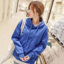 Hoodies Women 2019 Autumn Korean Style Pullover Kawaii Loose Blue 3D Letters Streetwear Long Sleeve Sweatshirt Bsudaderas