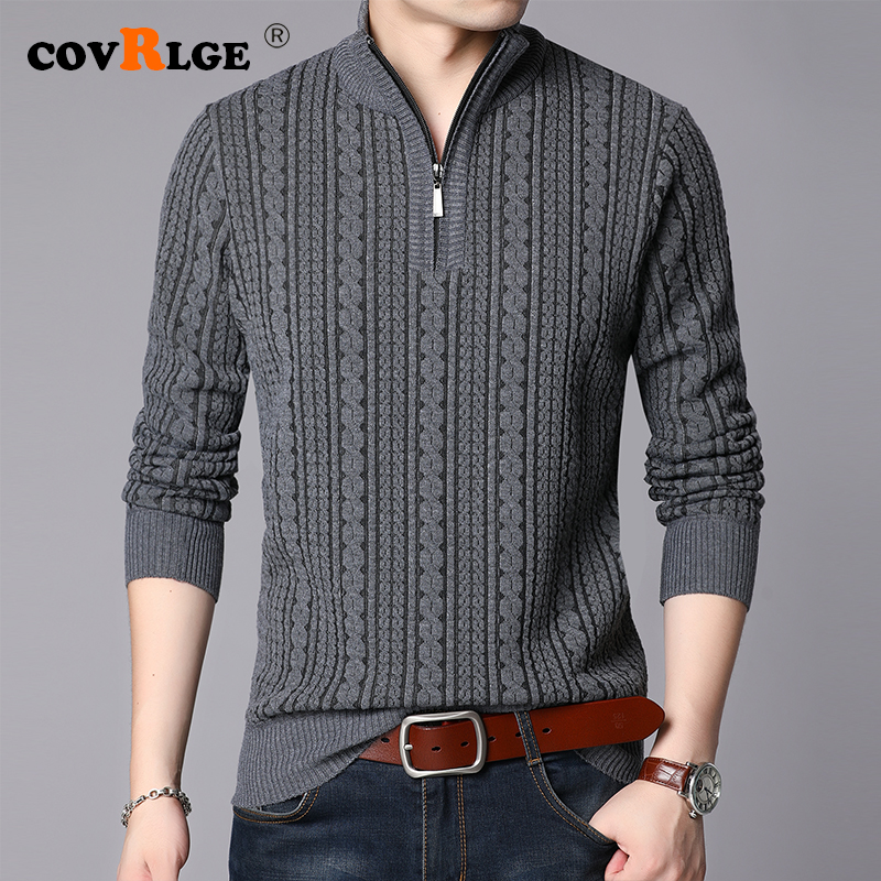 Covrlge 2019 Winter Men's Sweater Warm Pullover Sweater Coat Men Cardigan Jumpers Men Solid Woven Stripes Coats Men MZM051
