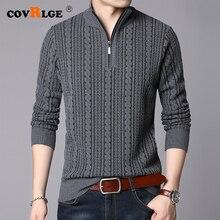 Covrlge 2019 zimowy męski sweter ciepła kurtka ze swetrem męski kardigan bluzy mężczyźni stałe tkane paski płaszcze mężczyźni MZM051