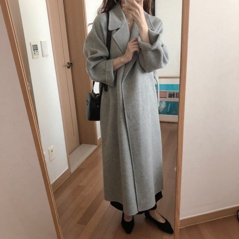Hc3a383d675f8454cb1842b0a8a424898S Winter Fashion Coats Women Wool-blend Coat Lazy Oaf Long Chunky Warm Coat Western Style Fitted Waist Lace-up Loose Coat