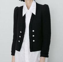 Элегантная Новая женская короткая твидовая куртка черного цвета