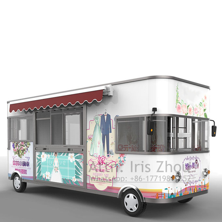 Size customized logo printing multifunctional electric vending cart/vehicle/truck/bus for clothes