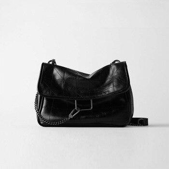 ¡Novedad! Bolso rombo negro Rock Suave de un solo hombro con cadena oblicua, bolsos de lujo para mujer 2020 bandolera de cuero de PU