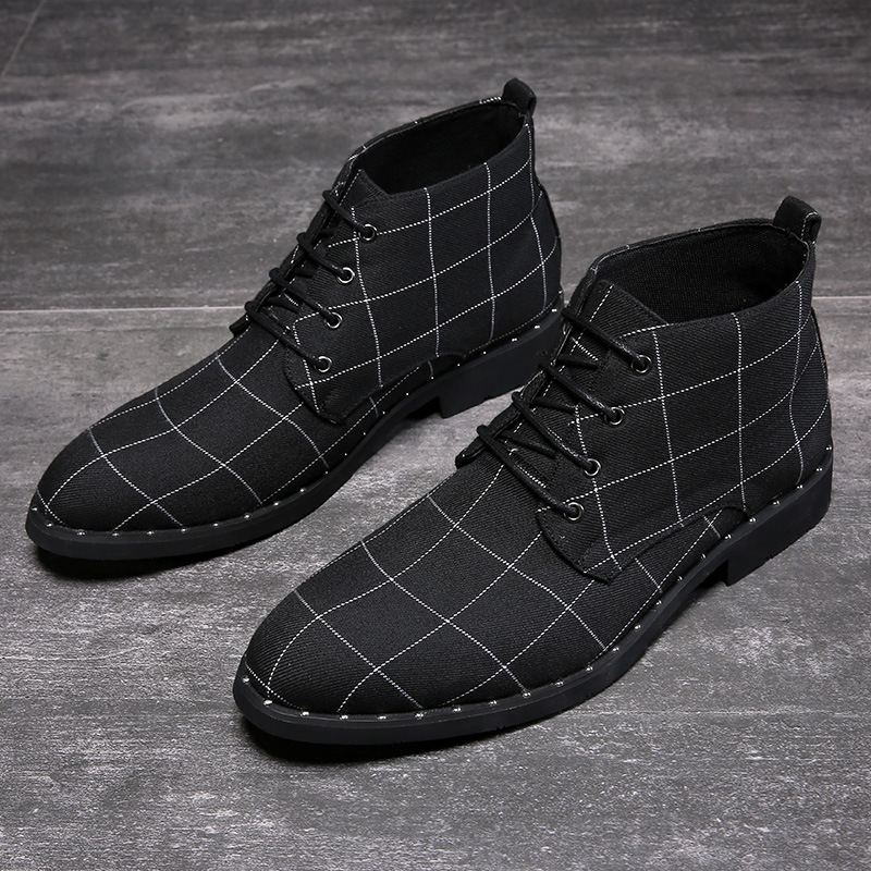 New Fashion Plaid Shoes Men Ankle Boots 2019 Autumn Early Winter Boots Casual Men Ankle Boots High Quality Male Footwear A1792