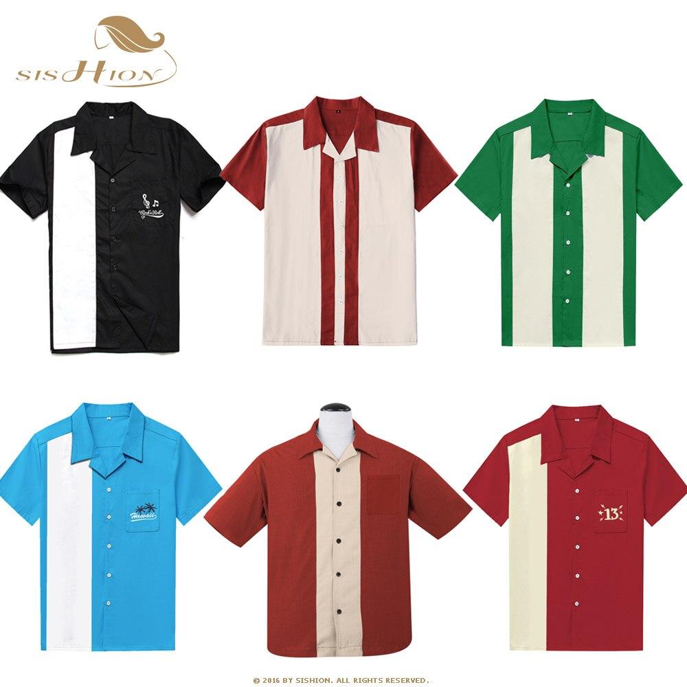 SISHION L-3XL Plus Size Men Shirt ST126 Short Sleeve Black Red Rockabilly Bowling Cotton Casual Shirts For Men Camisa Masculina