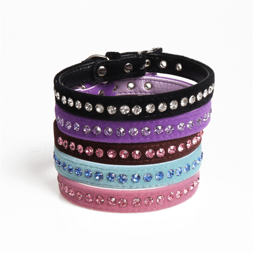 Jin Jie Te Origional New Style Fleece Dog Neck Ring PU Pet Collar Man-made Diamond