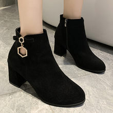 Fashion Ring High Heels Boots Women Flock Ankle Boots For Women Casual Shoes Pointed Toe Short Boots Black Botines Mujer 2019(China)