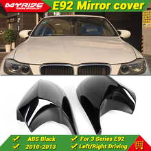 For BMW 3 Series Sedan E92 LCI 2DR Hard top Side Mirror Cover Cap Add on style ABS Gloss Black 1:1 Replacement M3 Look 2Pc 10-13