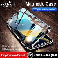Funda de Metal de adsorción magnética para iPhone, protector completo de vidrio de doble cara para iPhone 13 12 Mini 11 Pro XS Max XR X 8 7 6s Plus SE2