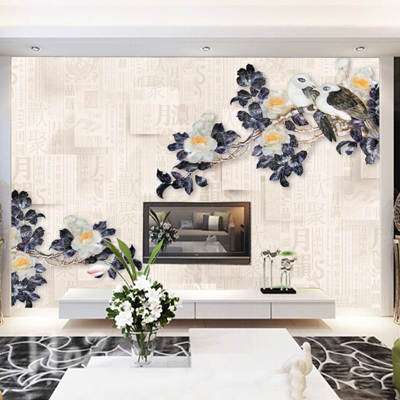 3D Jade Relief Wallpaper TV Backdrop Stereo Film And Television Wallpaper Manufacturers Wholesale Living Room Seamless Silk Wall