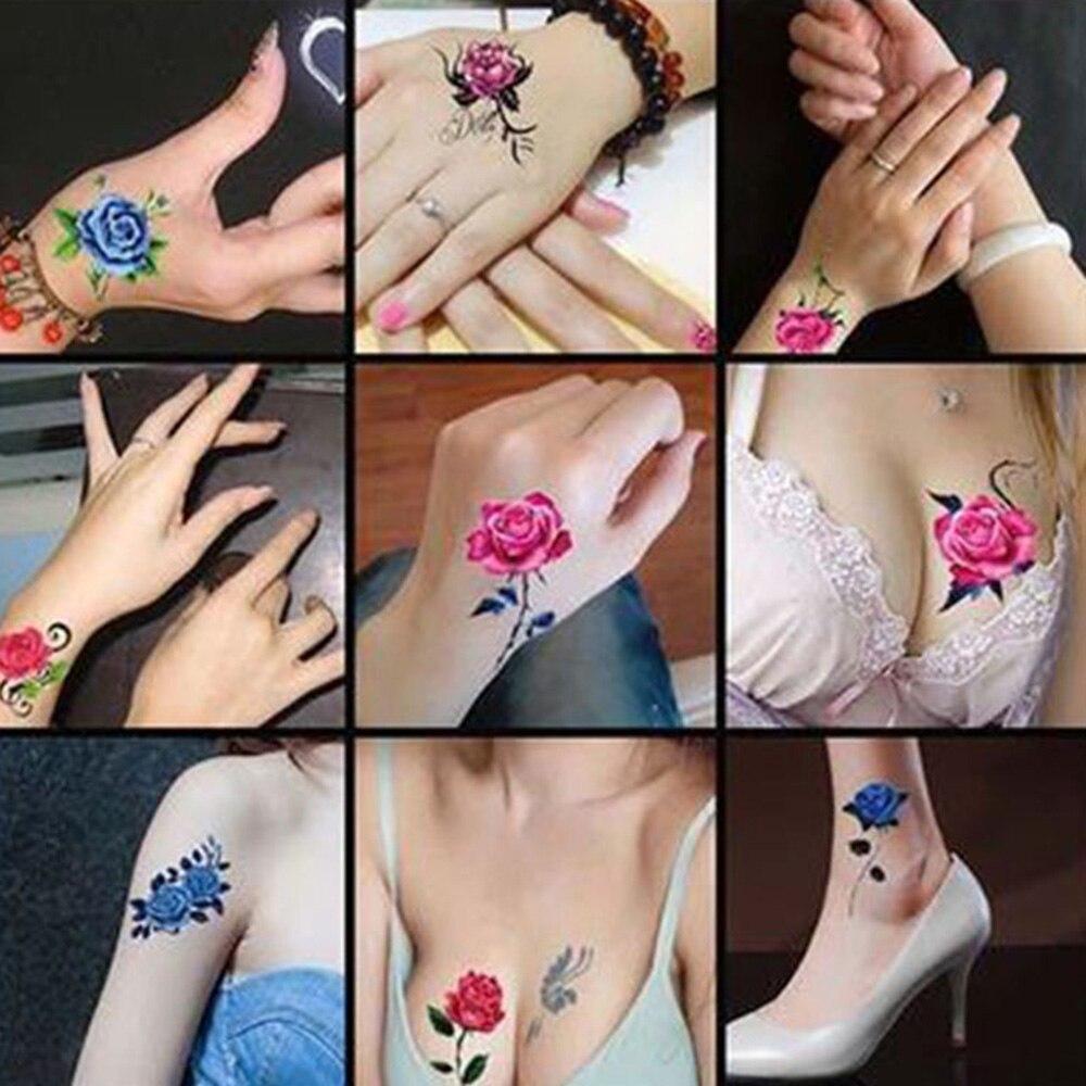 52 PCS/pack Flower Temporary Tattoos For Women Hand Tattoo Sticker Fashion Body Art Waterproof Arm Fake Tatoo Paper 6X6cm