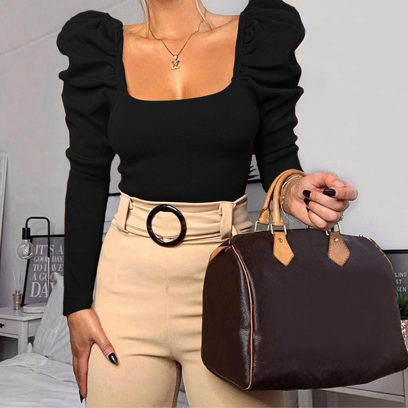 2020 Women Tshirts Autumn Pullover Crop Top Tees Long Sleeve Black White Solid Winter Short Top Tees T-shirts Women 1