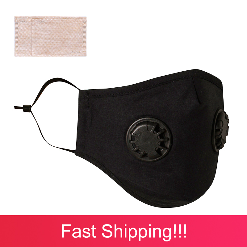 Washable Respirator Mask PM2.5 Carbon Filter Mask Black Masque Anti Virus Lavable Antibacterial Mask Face Mask
