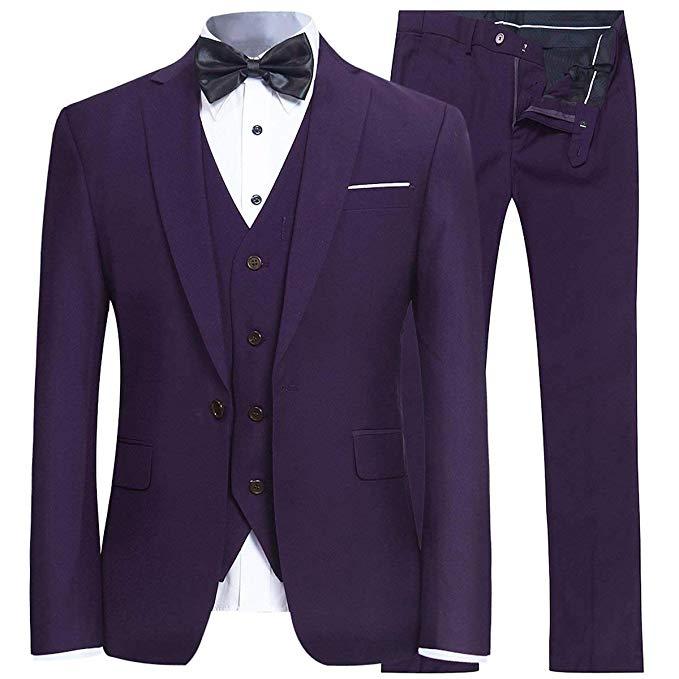 Purple Men's Slim Fit 3 Piece Suit One Button Blazer Tux Vest & Trousers