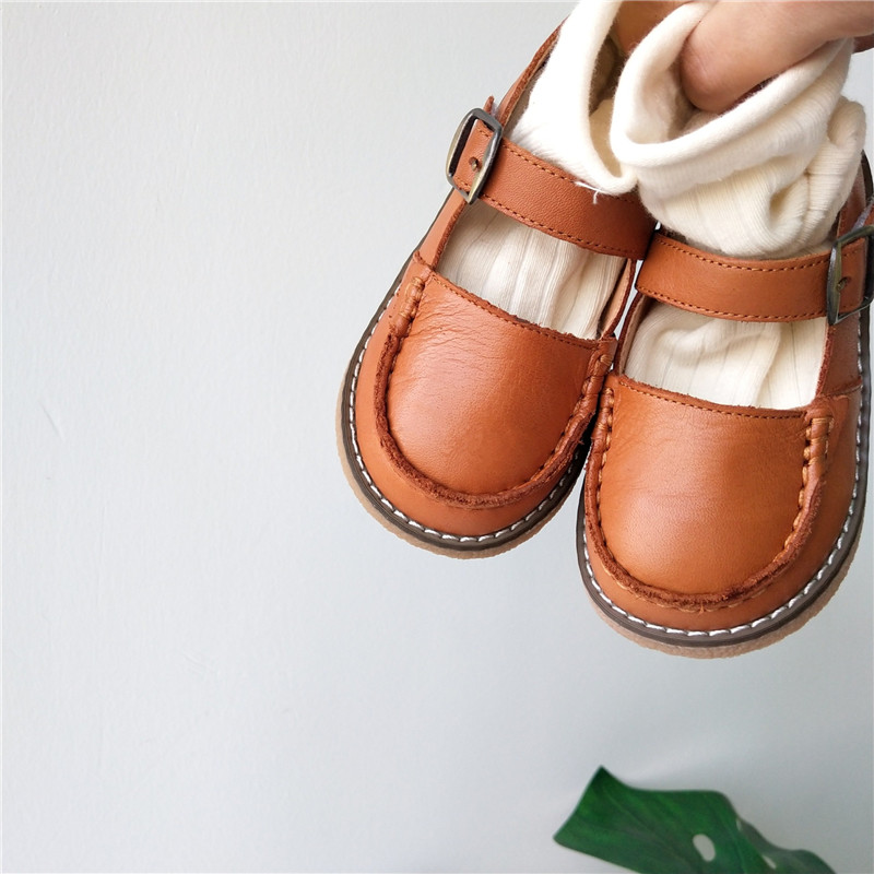 Beautiful! Toddler Girl Spring Real Leather Shoes Korean Style Children Lolita Leather Shoes White Brown Black Kids Girl Shoes