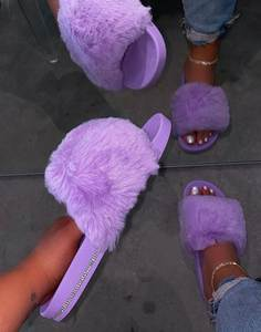 Slippers Warm Slides Fashion Shoes Faux-Fur Women House Female Cross Soft Winter Ladies