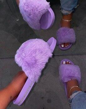 Женские домашние тапочки из искусственного меха, мягкие плюшевые меховые шлепанцы с открытым носком, зимняя модная обувь, 2020