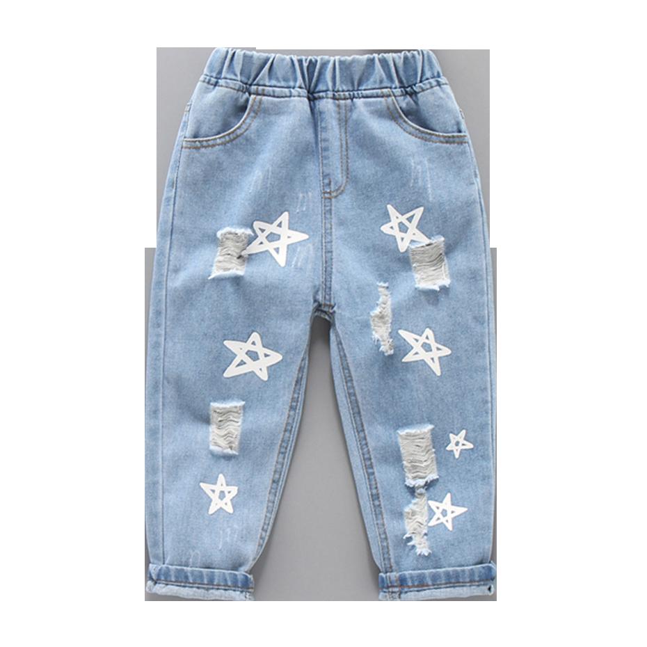 Джинсы для маленьких девочек; Джинсы для девочек с рисунком звезды; Весенне осенние рваные джинсы; Детская Повседневная стильная одежда для девочек|Джинсы| | АлиЭкспресс