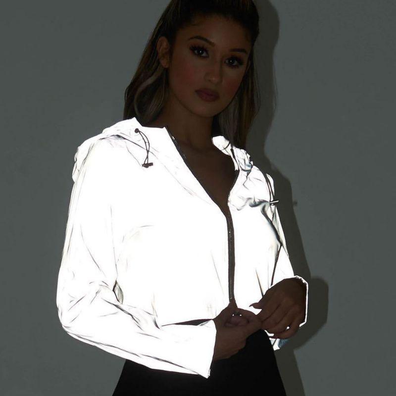 Светоотражающее пальто-бомбер с капюшоном, женское серебряное пальто с длинным рукавом, модное повседневное женское Спортивное короткое п...