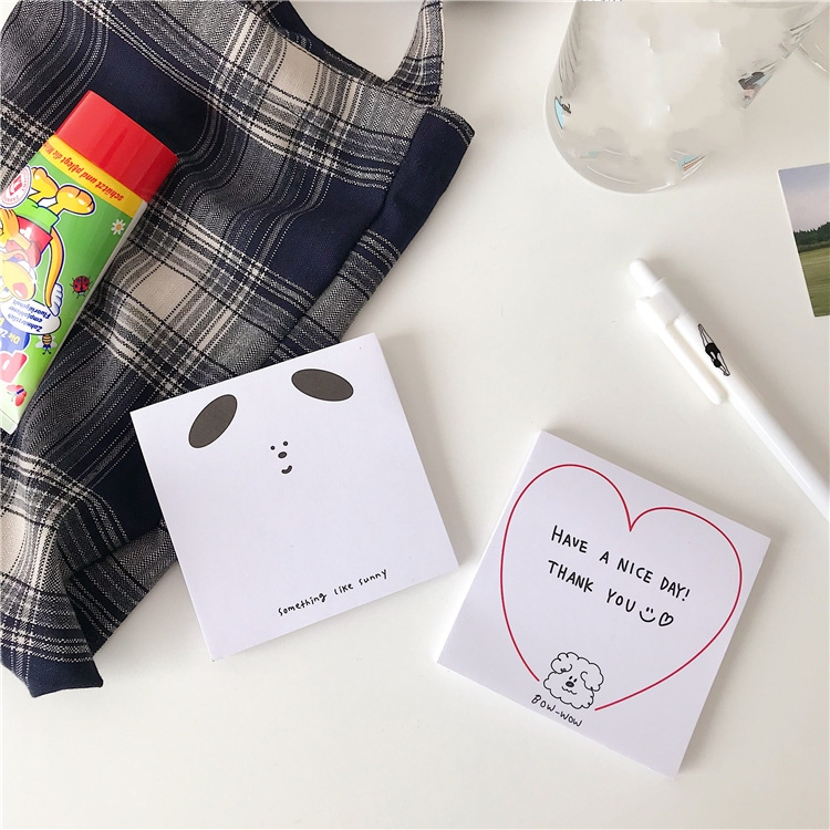 50Pages/Lot Kawaii Korean INS Cute Big Ear Curly Hair Dog Memo Pad N Times Sticky Notes Portable Notepad School Office Supply