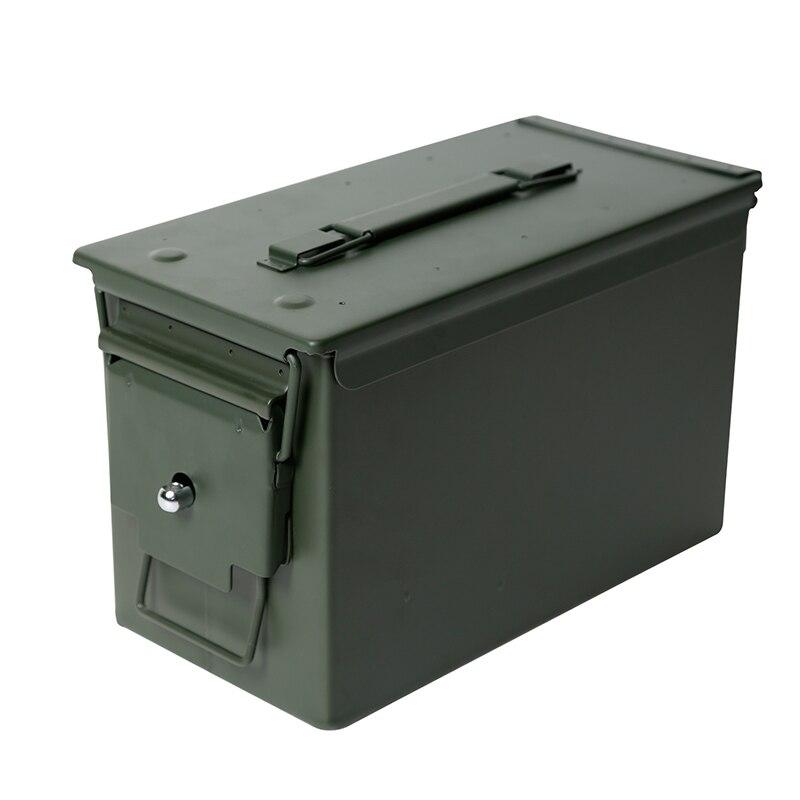 50 Cal Metal M2A1 caja de municiones estilo militar y militar caja de acero munición de pistola caja de almacenamiento caja de soporte pesado táctico caja de balas bloqueable