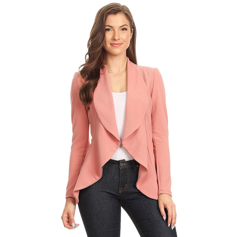 Autumn Winter Women Solid Cardigan Coat Long Sleeve Women  Ruched Asymmetrical Casual Business Suit Outwear