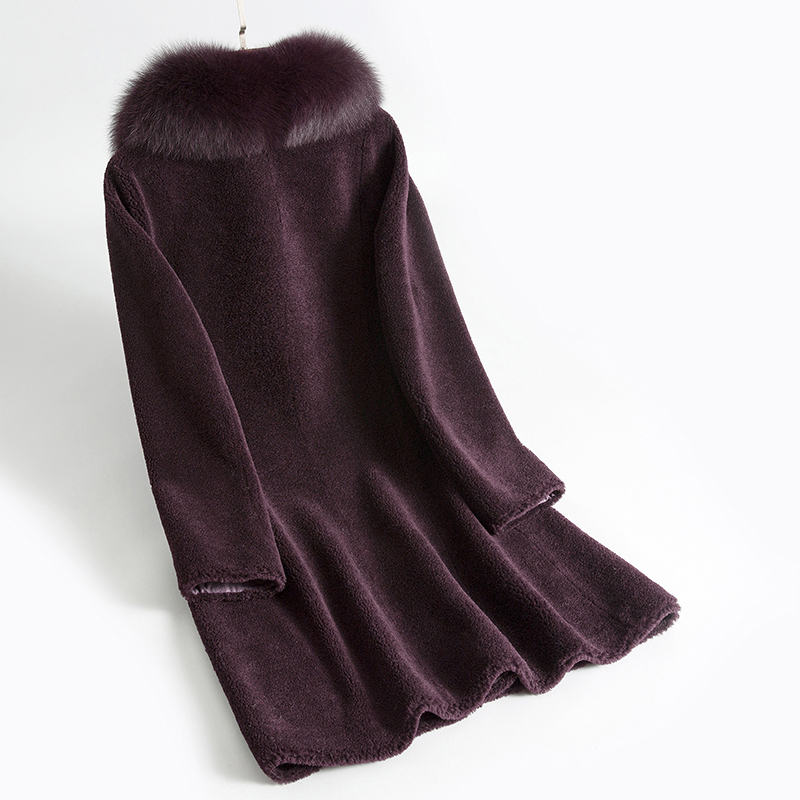Shearling Sheep Real Fur Coat Female Fox Fur Collar Wool Coats 2020 Winter Jacket Women Korean Outwear Suede Lining MY S