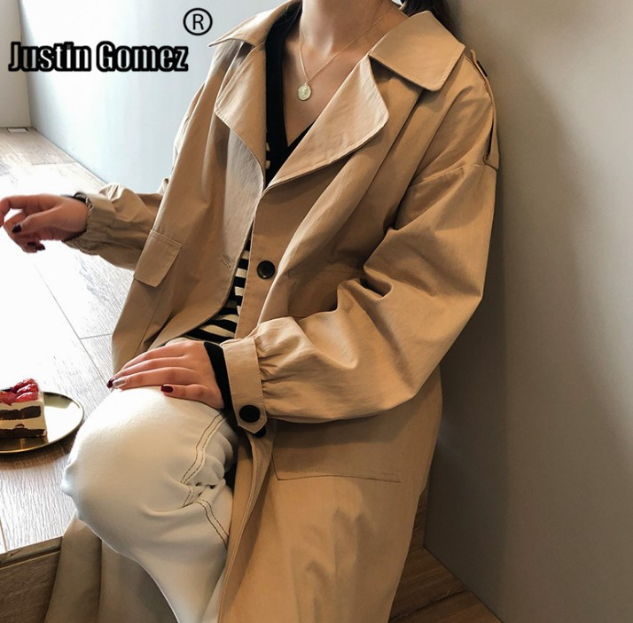 Womens Fashion Russian Style Single-breasted   Trench   Coat Cotton Khaki Loose Outwear Woman Coat Office Chic Design Female Clothes
