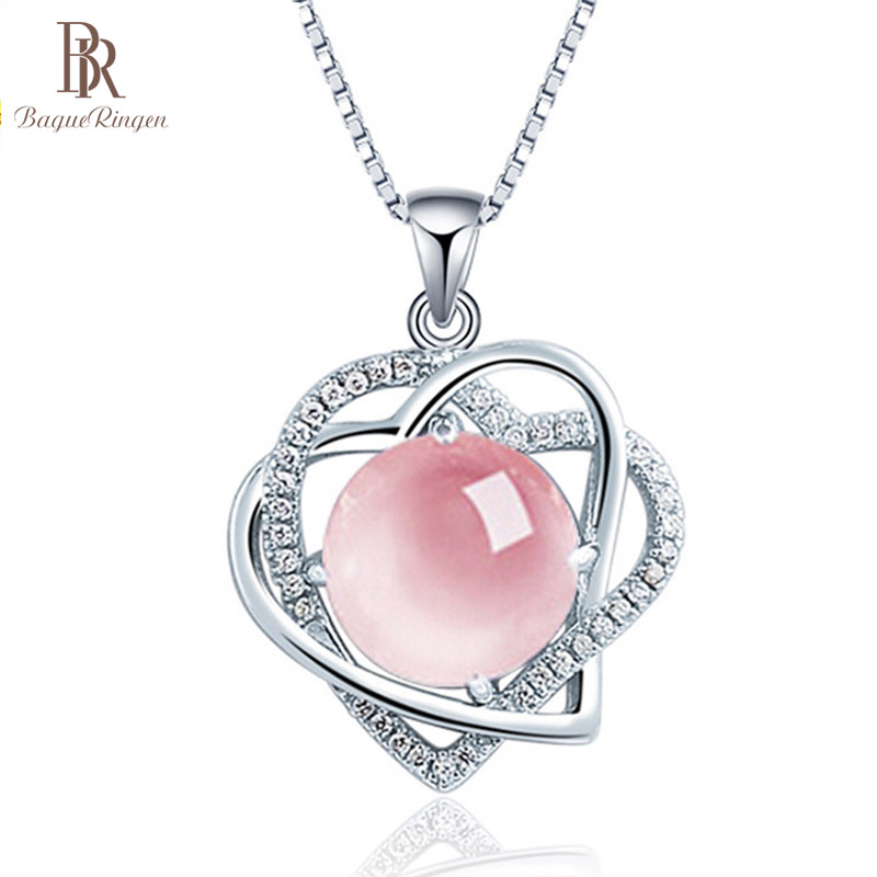 Bague Ringen Female Heart Shaped Necklace Pendant 6 Colors Choices Silver 925 Jewelry Powder Crystal Grapevine Amethyst Topaz