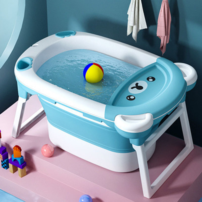 Children's Bathing Bucket Folding Tub Baby Swimming Tub Newborn Large Bath Barrel Home Baby Bath Tub Can Sit And Lie Cute Bear