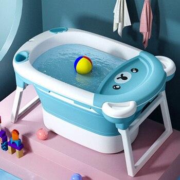Children's Bathing Bucket Folding Tub Baby Swimming Tub Newborn Large Bath Barrel Home Baby Bath Tub Can Sit and Lie Cute Bear