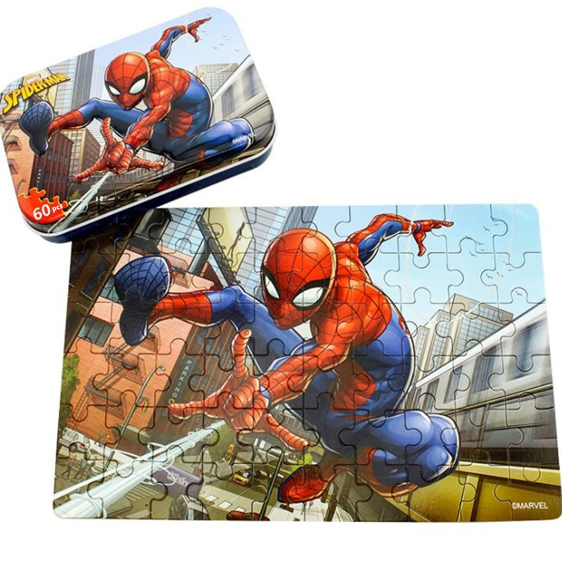 Marvel Avengers Spiderman Toy Disney Iron Box Jigsaw Puzzle Wood Jigsaw Puzzle For Children Gift 60pcs
