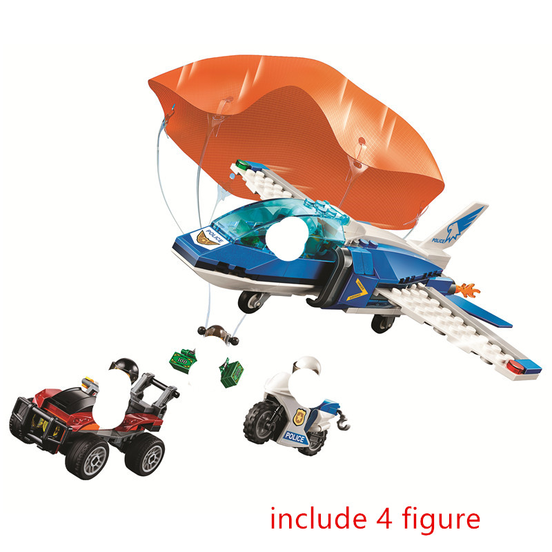 City Sky Police Parachute Arrest Building Blocks Kit Bricks Classic Model Kids Toys For Children Gift
