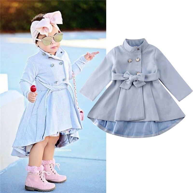 Children Jacket Dress For Girls Winter Wool Warm Overcoat Fashion Girls Clothes Kids Outerwear Autumn Girls Coat 1-5 Years