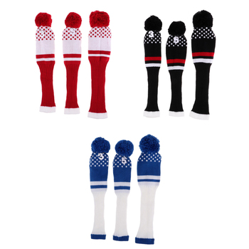Pack of 9 Fairway Wood Golf Headcover Knit Pom Pom Head Cover Golf Parts Knit Golf Head Covers for Driver 3 5 Woods Women