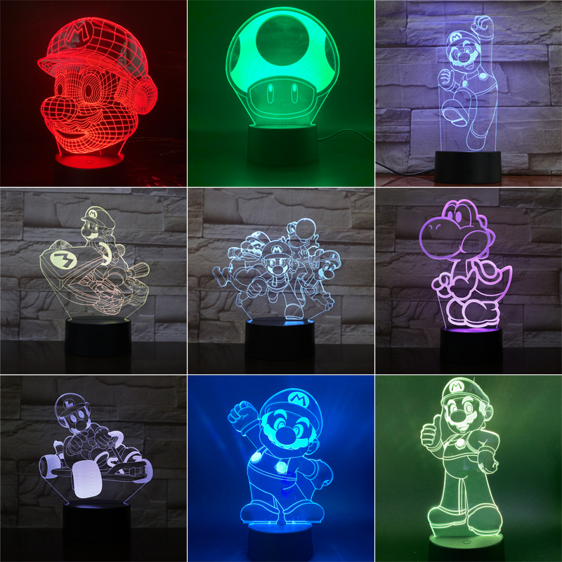 Super Mario 3D LED Night Light Mario Luigi Yoshi 7 Color Changing Lamp Room Decoration Action Figure Toy For Christmas Gift