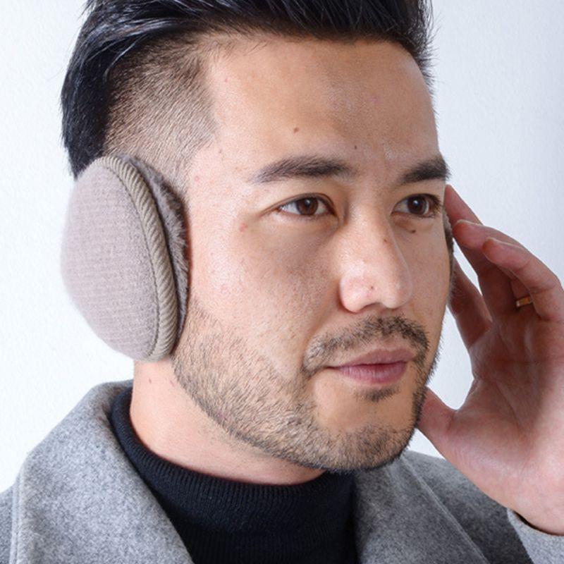 Women Men Winter Fluffy Plush Earmuffs Foldable Stripes Knitted Ear Warmer Cover