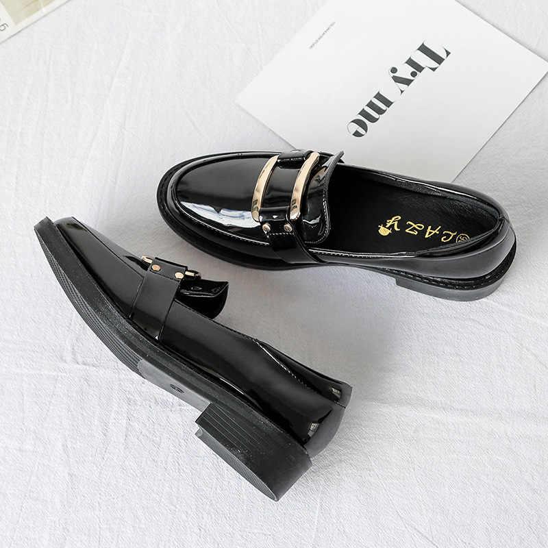 2019 nouvelles femmes talons bas mode nœud papillon plate-forme femme printemps chaussures frange talon épais plat chaussure décontracté Oxford chaussures