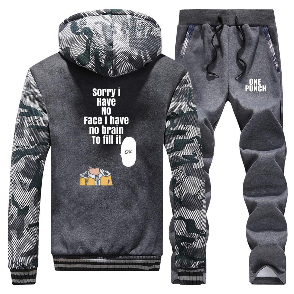 Anime One Punch Man Hoodie Sweatshirt Hip Hop Men Hoodies Winter New Jacket+Pants 2 Piece Suit Mens Harajuku Japanese Streetwear