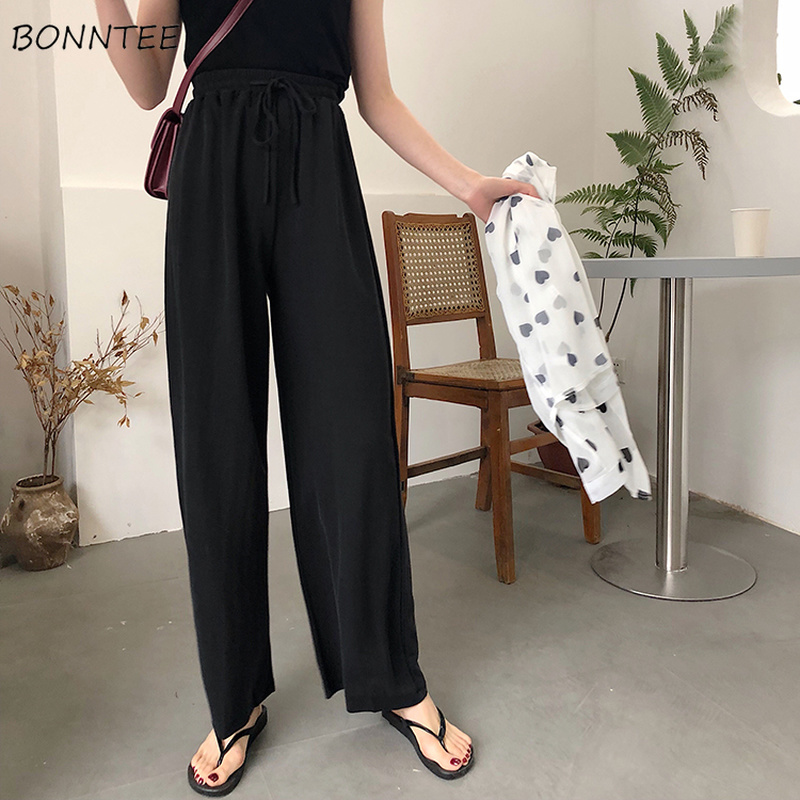 Pants Women Black Solid Simple All Match Elegant Korean Style Womens Loose Casual Elastic Waist Wide Leg Retro New Chic Daily