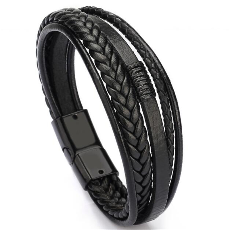 Wholesale Price Classic Genuine Leather Bracelet For Men Hand Charm Jewelry Multilayer male bracelet Handmade Gift For Cool Boys