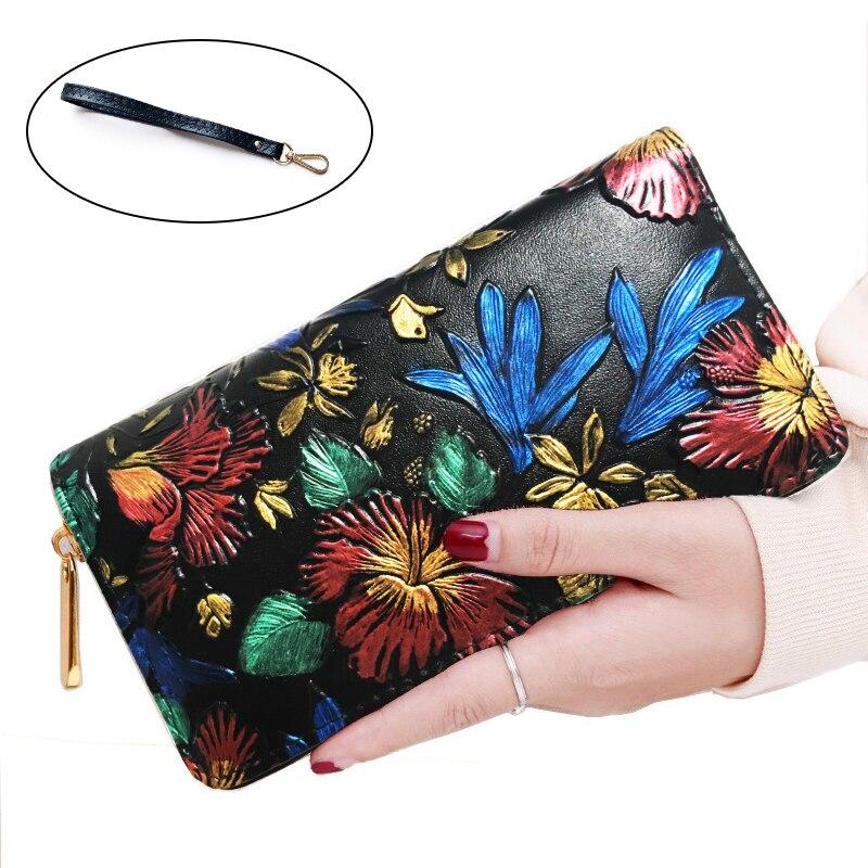 Retro Women Long Wallet Zipper Coin Purse Luxury Hand Painted 3D Flowers Card Holder