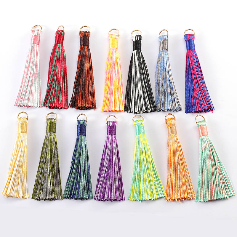 10pcs 7cm Colorful Polyester Silk Tassel Brush Pendant Earring Charm For DIY Jewelry Making Handmade Craft Findings Supplier