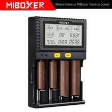 MiBoxer cargador inteligente de batería C4, doble AA Max, 2,5a/ranura, súper rápido, 18650, 14500, 26650, función de carga de descarga